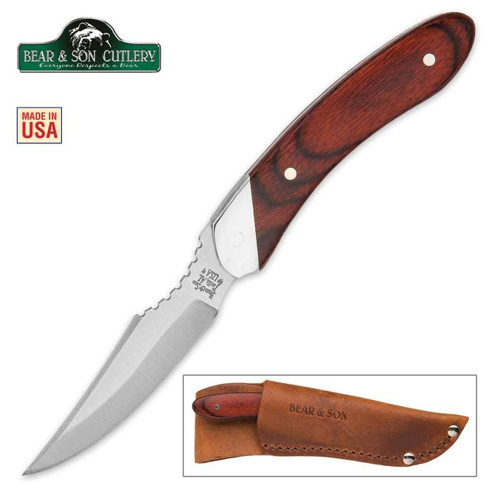 Bear Rosewood Caper Fixed Blade Knife With Leather Sheath