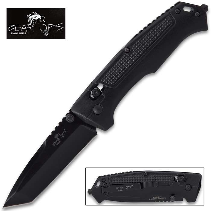 bear ops rancor tactical tanto point pocket knife open and closed view