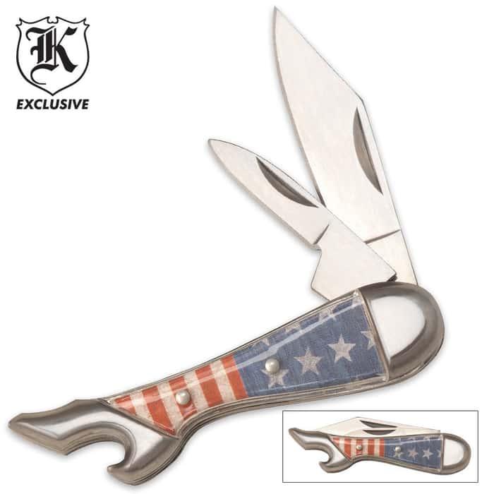 Two Blade Mini Leg Knife American Flag