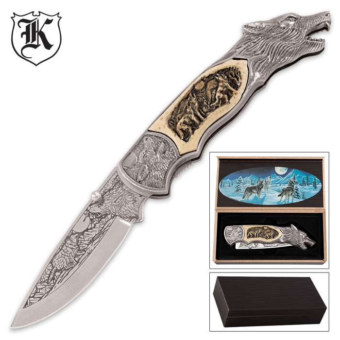 Howling Wolf Pocket Knife With Box