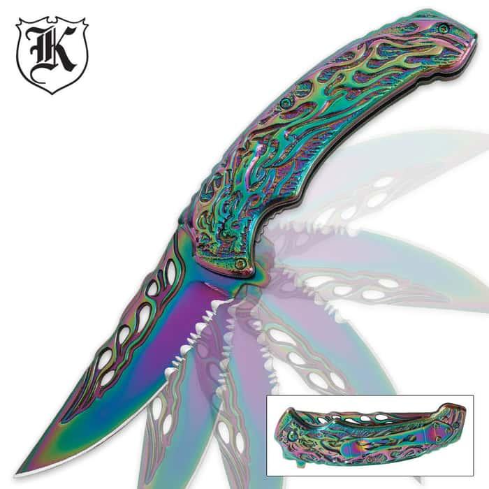 Assisted Opening Flaming Skull Fantasy Knife Rainbow Titanium