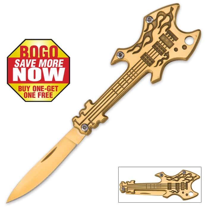 Flaming Gold Guitar Pocket Knife - BOGO