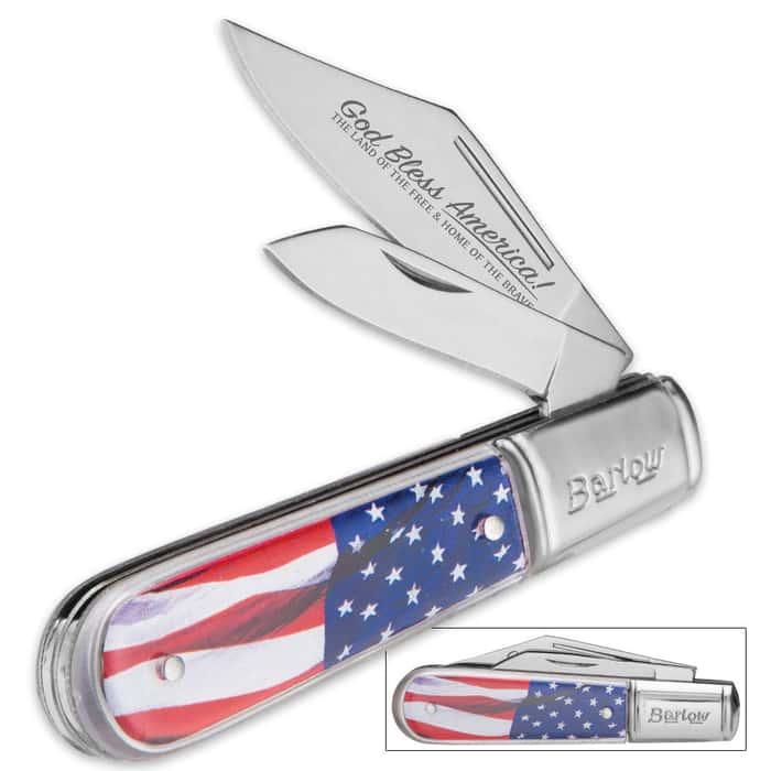 USA Flowing Flag Barlow Pocket Knife