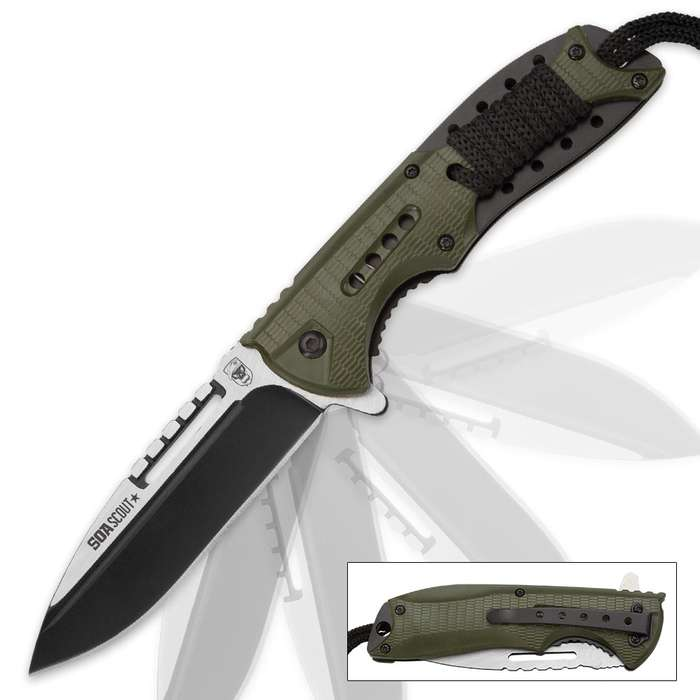 SOA Scout Assisted Opening Pocket Knife - OD Green with Black Paracord Wrapping