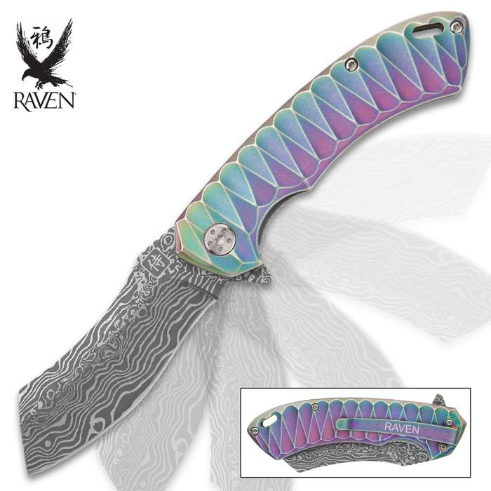 Rainbow Raven Samurai Razor Pocket Knife