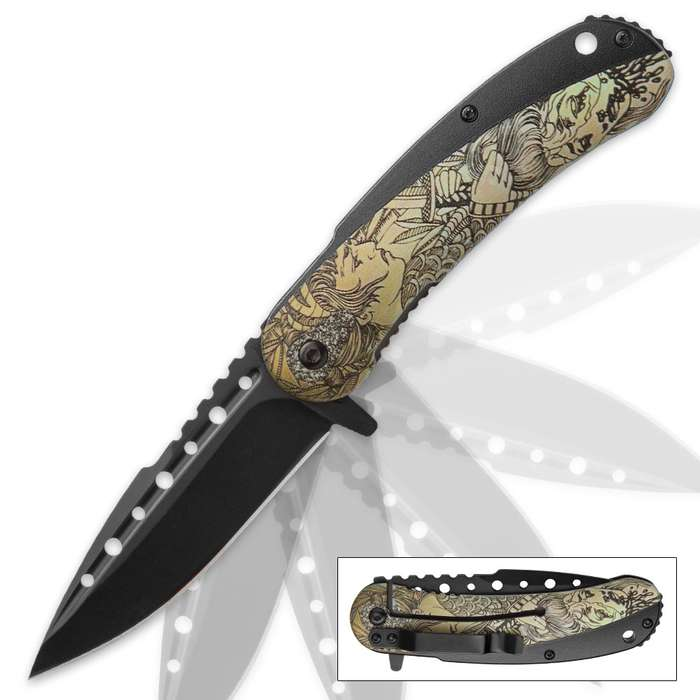 Boshin Warrior Assisted Opening Pocket Knife with Asian Ink Wash-Style Illustration