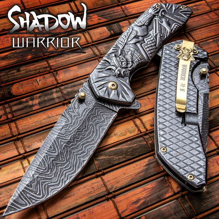 Shadow Warrior Assisted Opening Pocket Knife | DamascTec Steel Blade | Black And Gold