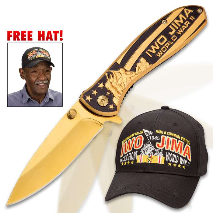 Iwo Jima Pocket Gold Knife And FREE Hat