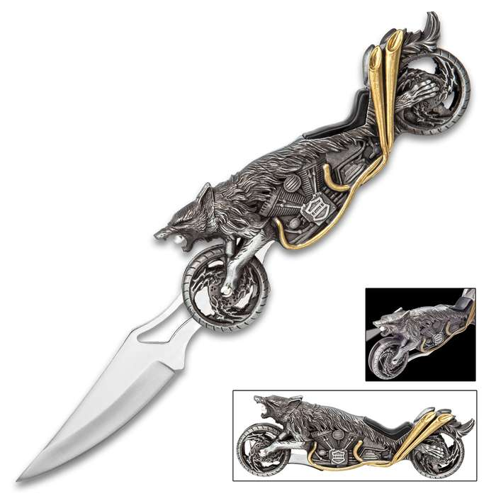 Raging Wolf Motorcycle Pocket Knife With LED - Stainless Steel Blade, Sculpted Cast Metal Handle, Lockback - Length 8 3/4""