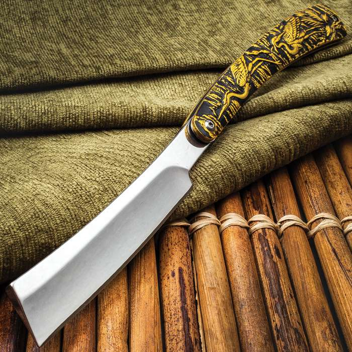 """Crane's Gold Folding Razor Knife - Mirror Polished Stainless Steel Blade, Embossed Aluminum Handle, Extended Tang - Closed 6 3/4"""""""