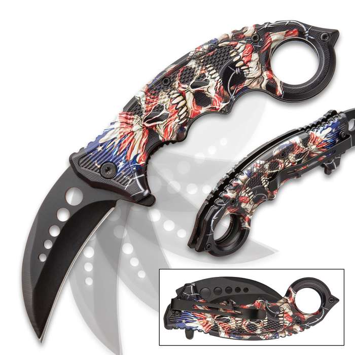 Liberty's Price Assisted Opening Karambit Knife - Stainless Steel Blade, TPU Handle, Colorful Detailed Artwork, Pocket Clip