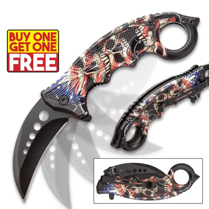 """Our visually striking, patriotic Liberty's Price Assisted Opening Karambit Knife is a reminder that """"Freedom is never free and with BOGO, you get two!"""
