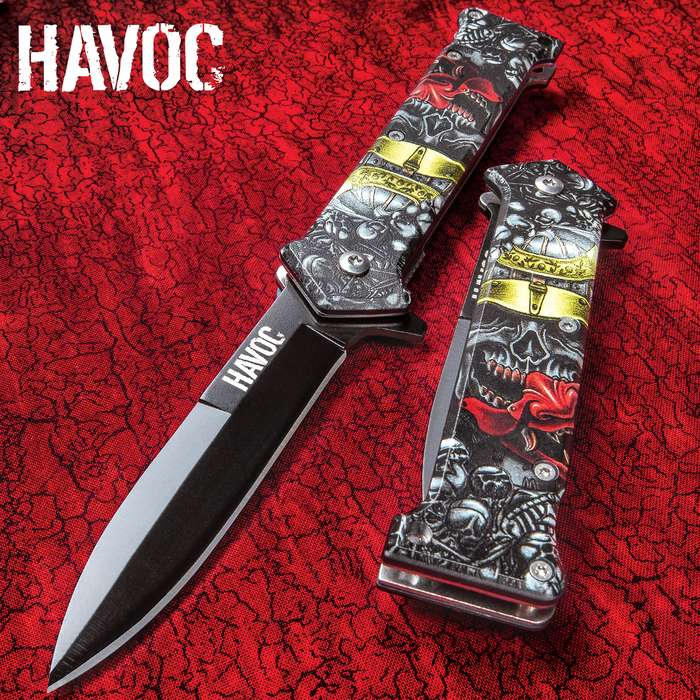 Havoc Warrior Skull Stiletto Pocket Knife - Black Stainless Steel Blade, 3-D Printed TPU Handle Scales, Pocket Clip