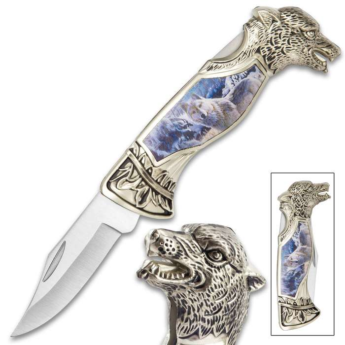 Winter Wolf Pocket Knife - 3Cr13 Stainless Steel, Sculpted Cast Metal And TPU Handle, Colorful Artwork, Liner Lock - Closed 5""