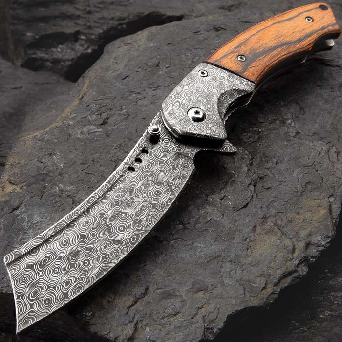 Boot Hill Razor Pocket Knife - Damascus Pattern Steel Blade, Wooden Handle Scales, Assisted Opening, Damascus Bolsters, Pocket Clip