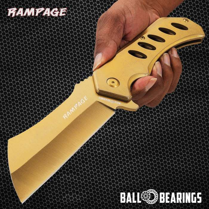 Rampage Gold Cleaver Pocket Knife - Stainless Steel Blade, Ball Bearing Assisted Opening, Stainless Steel Handle - Length 12""