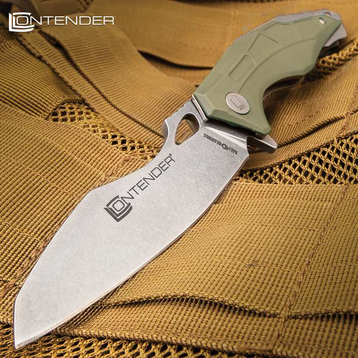 Contender Crosswind Advanced Ball Bearing Pocket Knife - 3Cr13 Stainless Steel Blade, Olive Drab Aluminum Handle, Pocket Clip - Closed Length 5""