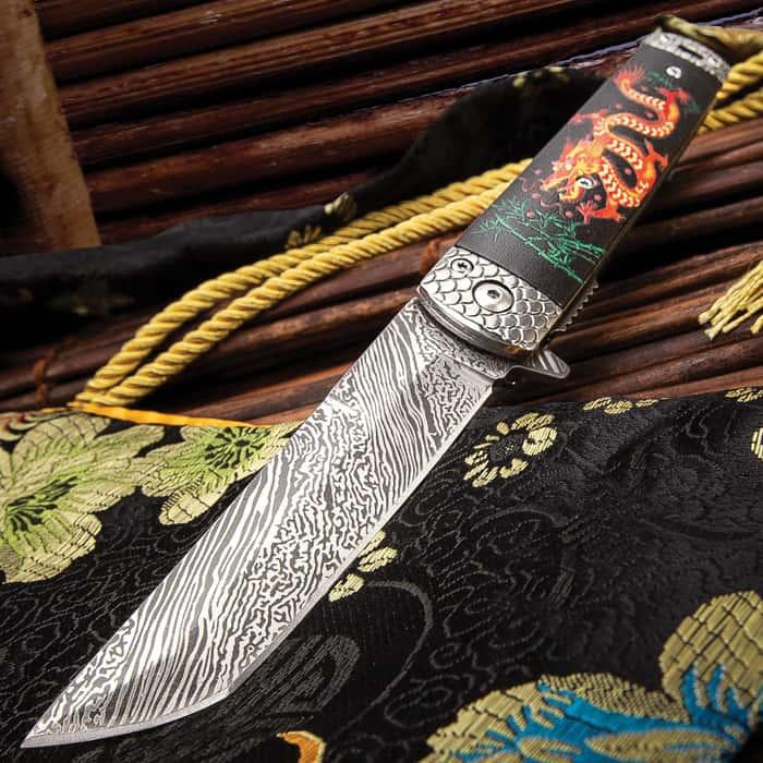 "8"" Spring Assisted Open Folding Pocket Knife Katana Tanto Japanese Damascus New"