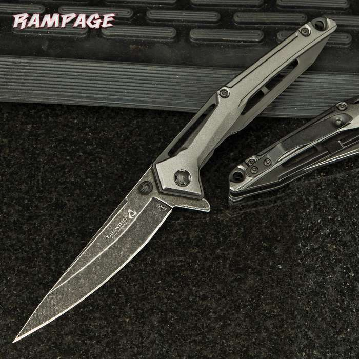 Rampage Tailwind Stonewashed Pocket Knife - Stainless Steel Blade, Aluminum Handle, Ball Bearing Opening, Pocket Clip