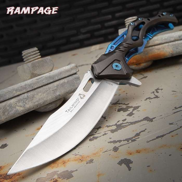 "Rampage Blue Tailwind Ball Bearing Pocket Knife - Stainless Steel Blade, Aluminum And Steel Handle, Pocket Clip - 4 3/4"" Closed"