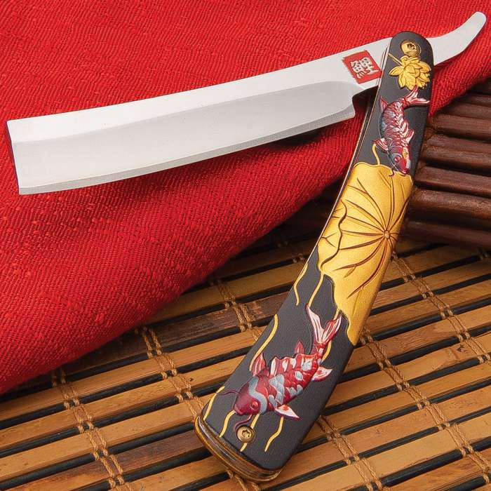 """Koi Fish Razor Pocket Knife - Stainless Steel Blade, Extended Tang, Aluminum Handle, Sculpted 3D Design - Closed 6 3/4"""""""