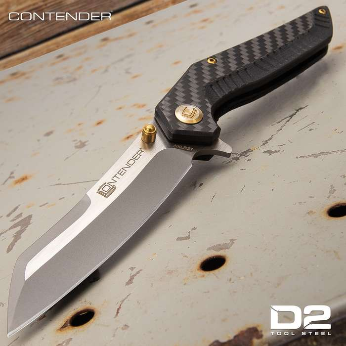 Contender Volantes Pocket Knife - D2 Steel Blade, CNC Ground, G10 And Carbon Fiber Handle, Ball Bearing Opening - Closed 4 1/2""