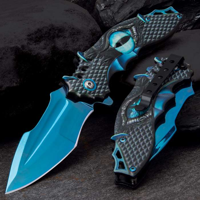 Our Blue Dragon Eye Pocket Knife is eye-catching…literally!