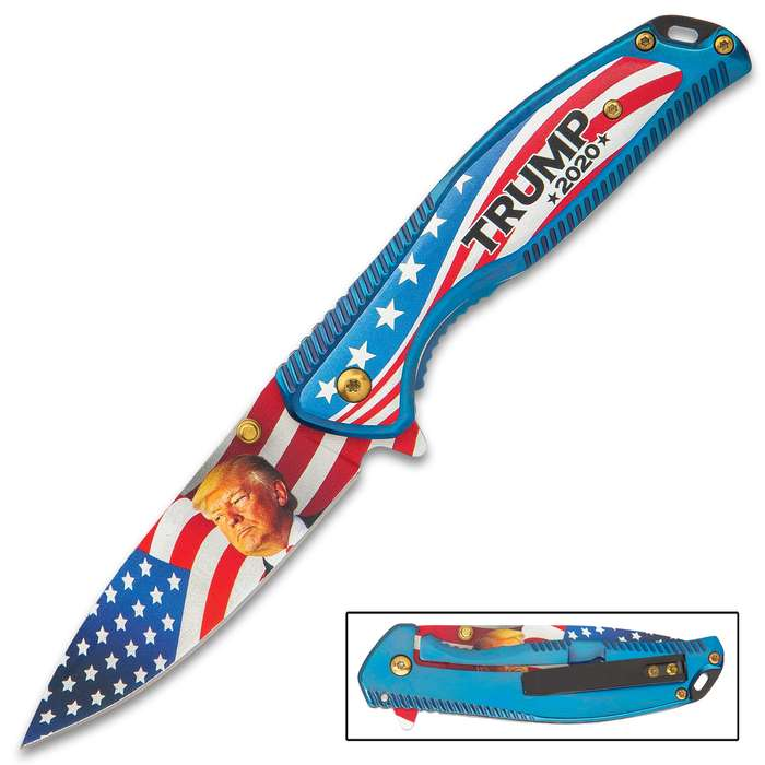 If you're supporting President Donald Trump in the 2020 Election, then, you absolutely need this striking, assisted opening pocket knife