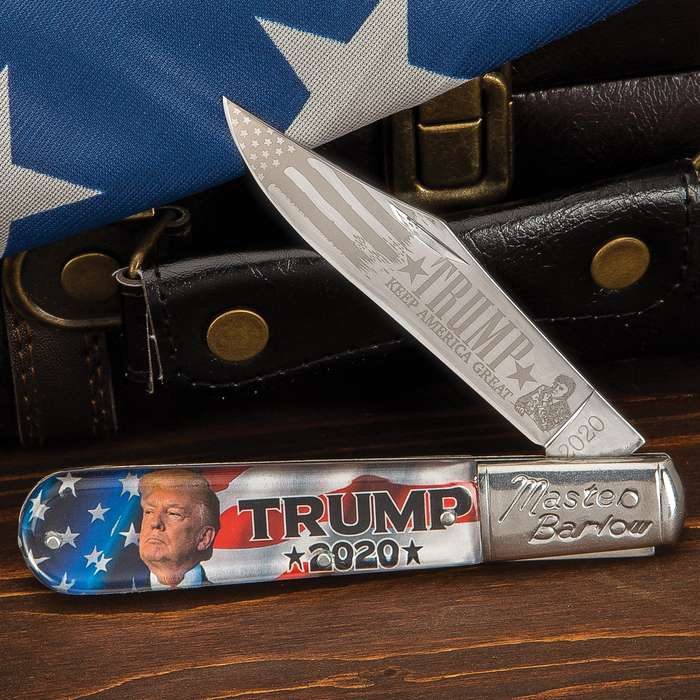 Show your support for President Donald Trump to be reelected in 2020 with our Trump 2020 Master Barlow Pocket Knife