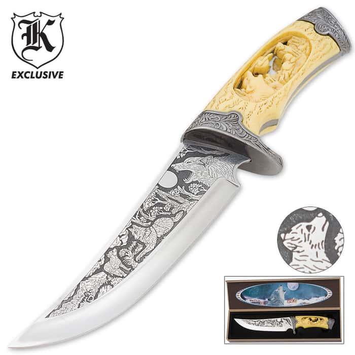 Custom Faux Ivory Wildlife Wolf Bowie Knife