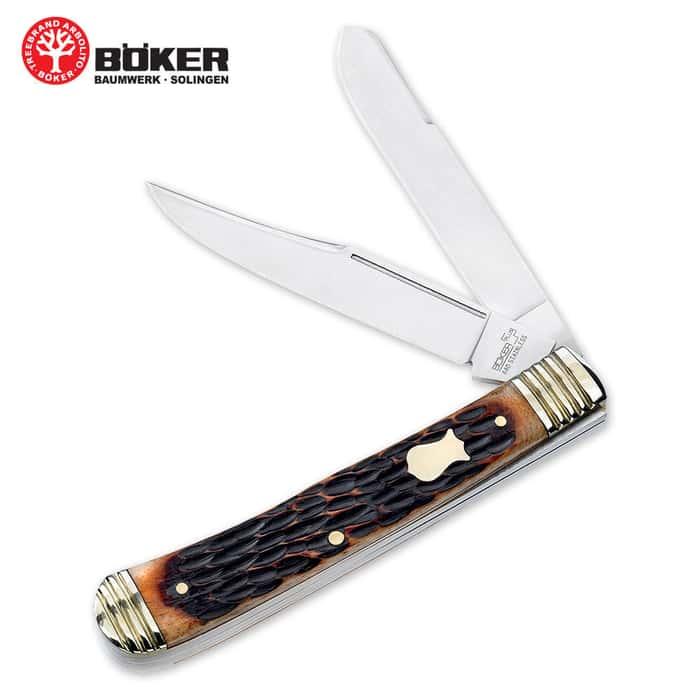 Boker Plus Trapper Brown Jigged Folding Knife