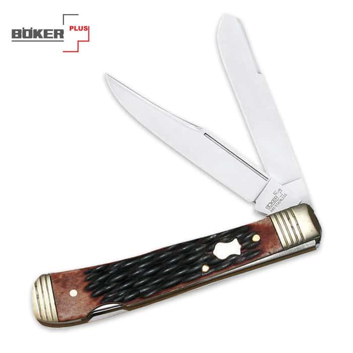 Boker Plus Double Lock Jigged Brown Trapper Pocket Knife