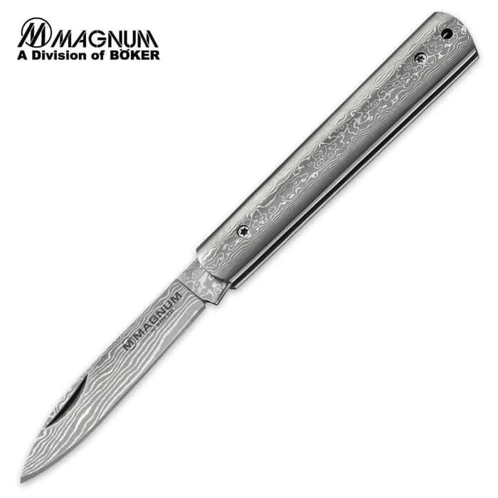 Boker Magnum Damascus Steel Slim Folding Pocket Knife