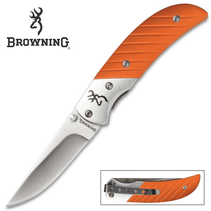 Browning Prism II Pocket Knife - Orange - 440A Stainless Steel - Anodized Aluminum - Buckmark, Pocket Clip, Thumb Studs, Liner Lock, Drop Point - Everyday Carry EDC Outdoors Hunting Fishing Camping