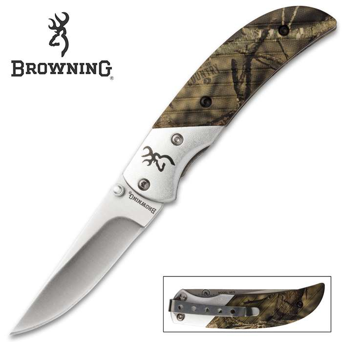 Browning Prism II Pocket Knife - Mossy Oak Break-up Country Camo - 440A Stainless Steel - Anodized Aluminum - Buckmark, Pocket Clip, Thumb Studs, Liner Lock, Drop Point - Everyday Carry EDC