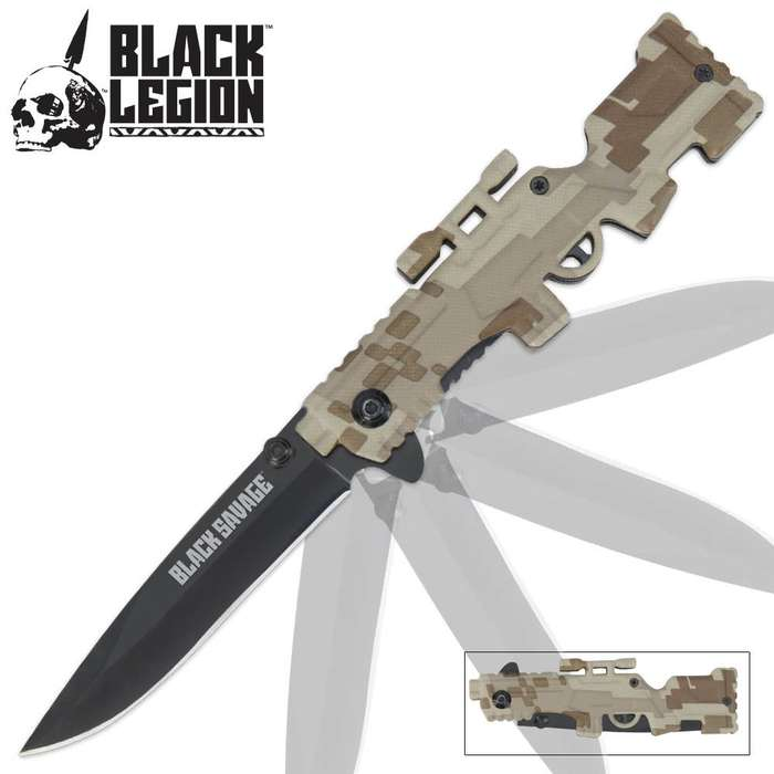 Black Legion Rifle Assisted Opening Pocket Knife Camo