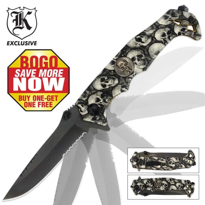 Black Legion Skull Camo Assisted Opening Pocket Knife 2 for 1
