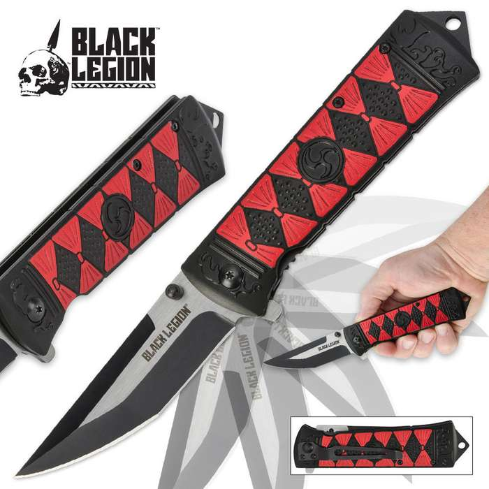 Black Legion Apocalypse Warrior Assisted-Open Red Folding Pocket Knife
