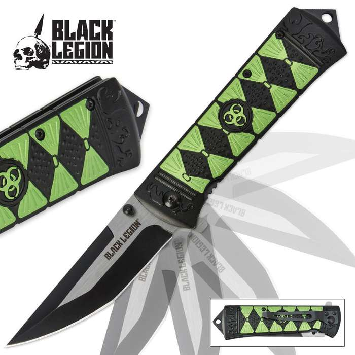 Black Legion Apocalypse Warrior Assisted-Open Green Folding Pocket Knife
