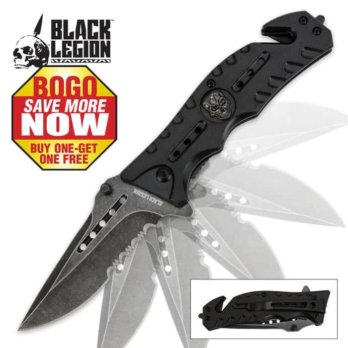 Black Legion Skull Rescue Folding Pocket Knife Black 2 for 1