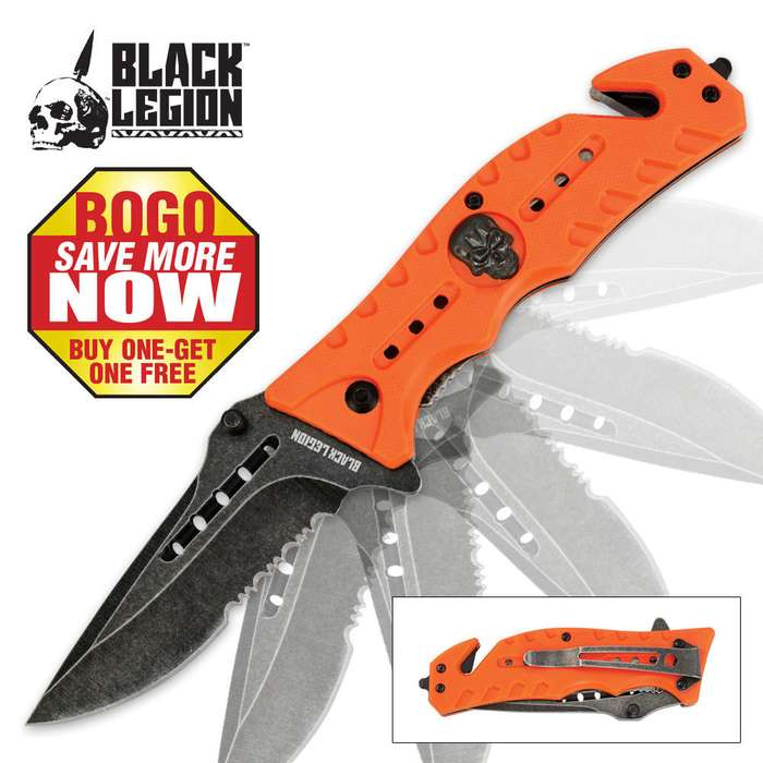 Black Legion Skull Rescue Folding Pocket Knife Orange 2 for 1