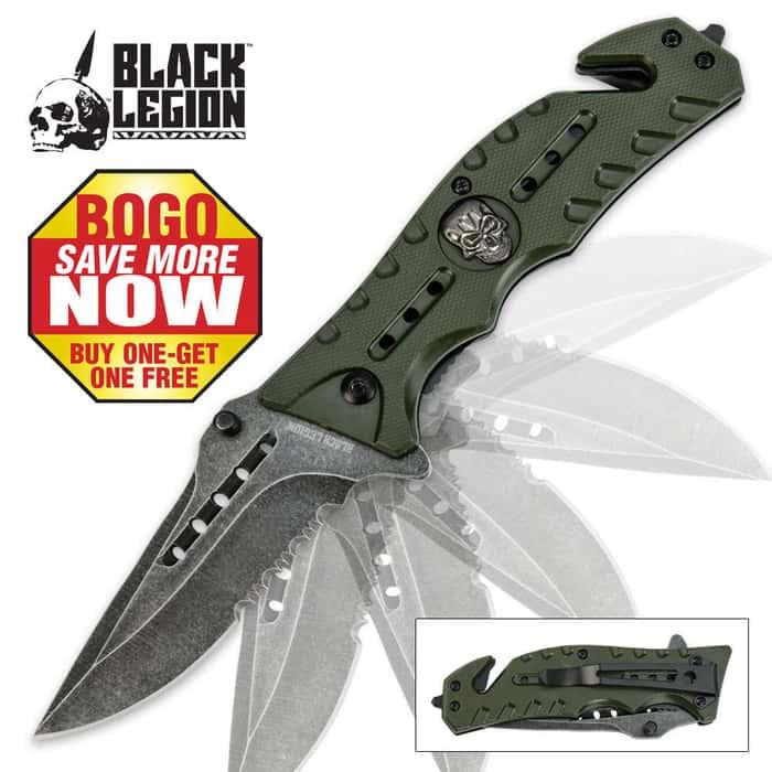 Black Legion Skull Rescue Folding Pocket Knife Green 2 for 1