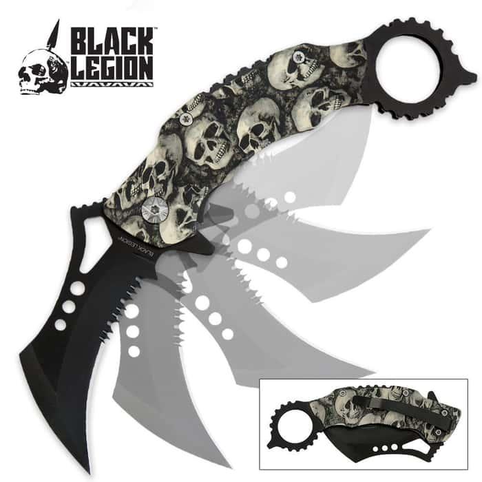 Black Legion Skull Mayhem Folding Karambit Pocket Knife Grey
