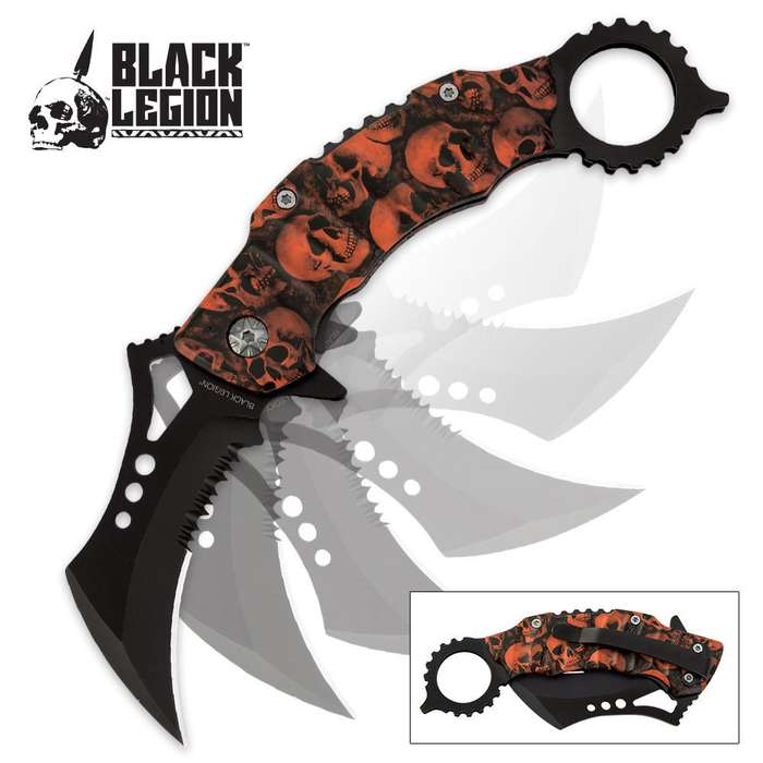 Black Legion Orange Skull Mayhem Folding Karambit Pocket Knife