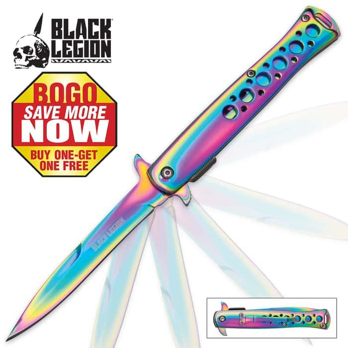 Black Legion Rainbow Titanium Assisted Opening Stiletto Knife - BOGO
