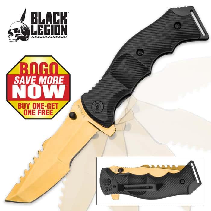 Black Legion Huntsman Gold Pocket Knife - BOGO
