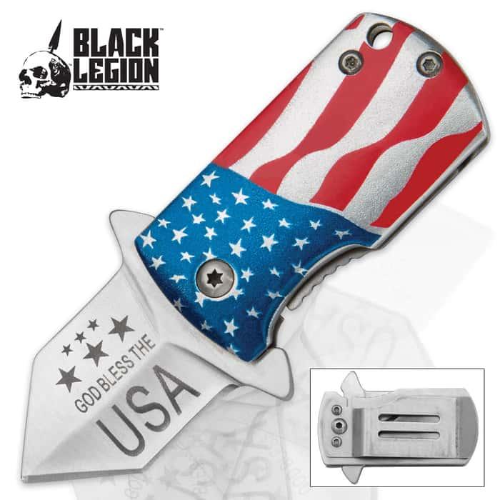 Black Legion USA Flag Money Clip Assisted Opening Mini Pocket Knife