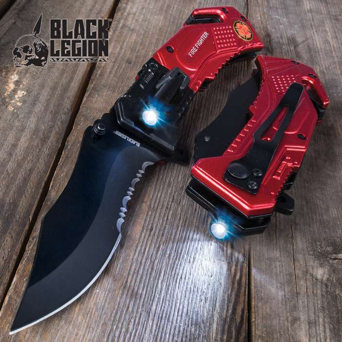 Black Legion Firefighter Everyday Carry Assisted Opening Pocket Knife with Built-In Flashlight