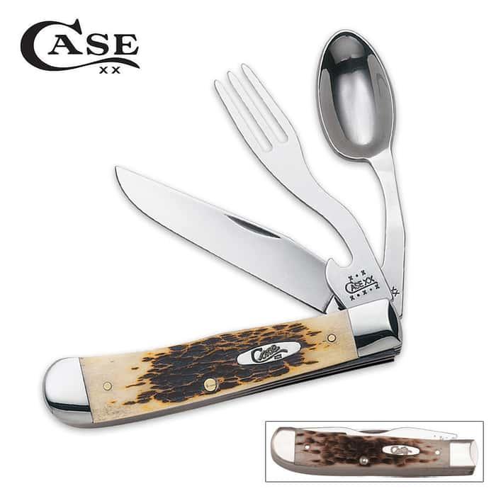 Case Amber Bone Hobo Folding Knife