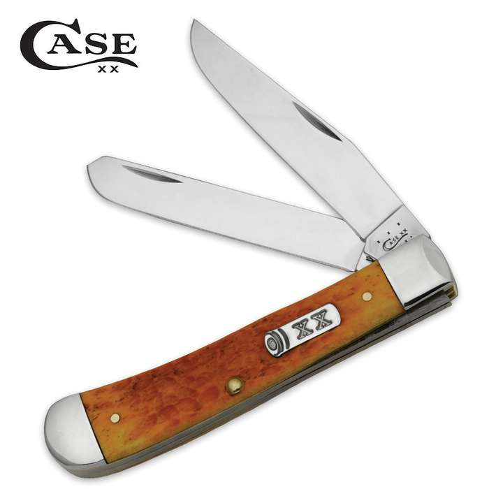 Case Persimmon Orange Bone Trapper Folding Pocket Knife